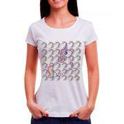 Blusa OutletDri T-Shirt Estampada Unicornios Branca