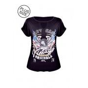 Blusa Plus Size Tshirt Estampada Detalhe Fenda Decote 46 50