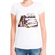 Blusa Feminina T-Shirt Manga Curta Estampa De Livros Óculos Coloridos.