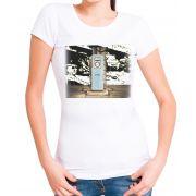 Blusa T-Shirt Outlet Dri Estampa Gas Stop Branca