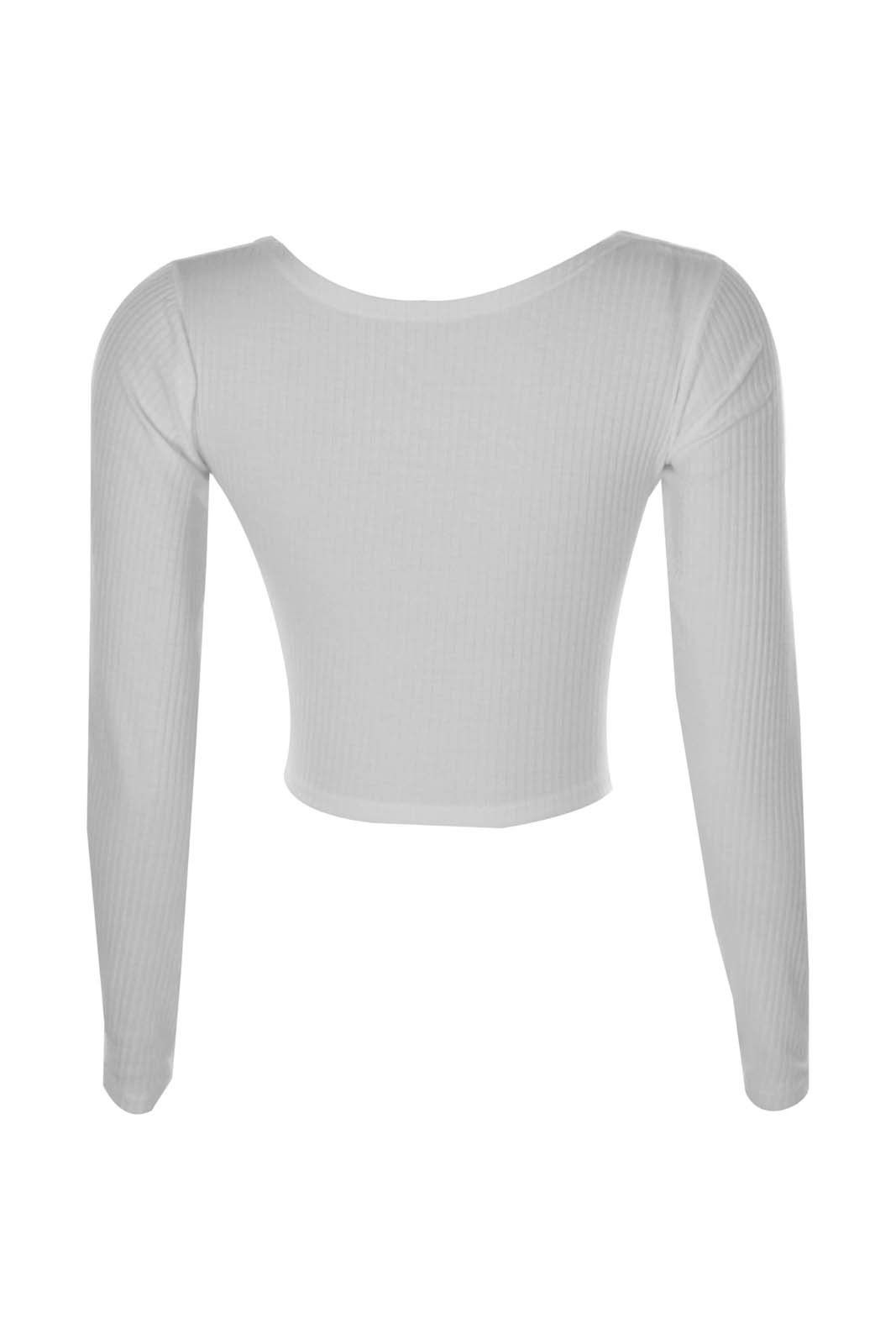 Blusa Cropped Outletdri Canelado Ml Branco