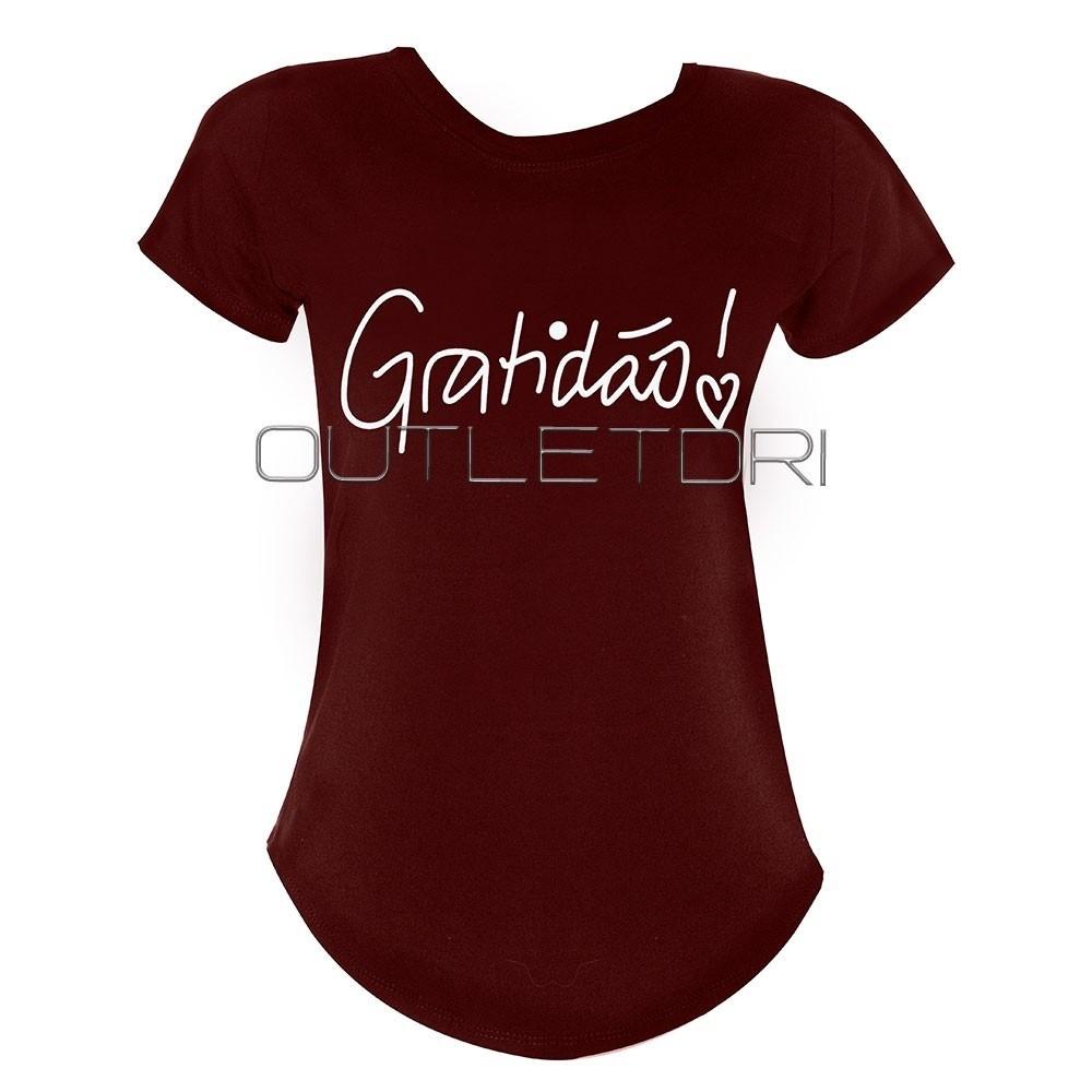 Blusa Feminina T Shirt Curta Estampada Gratidão