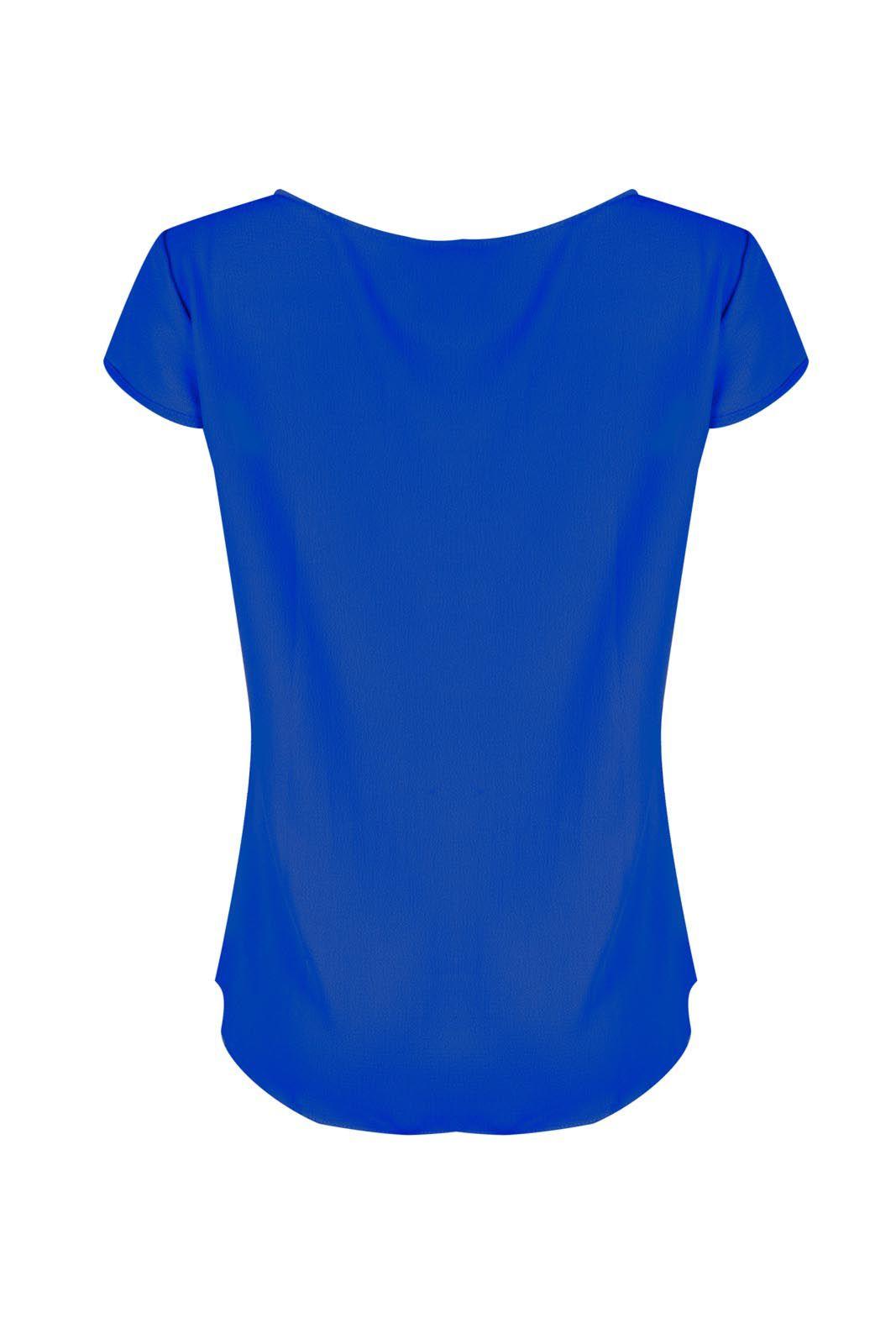 Blusa Outlet Dri  Decote Tirinhas Crepe Azul