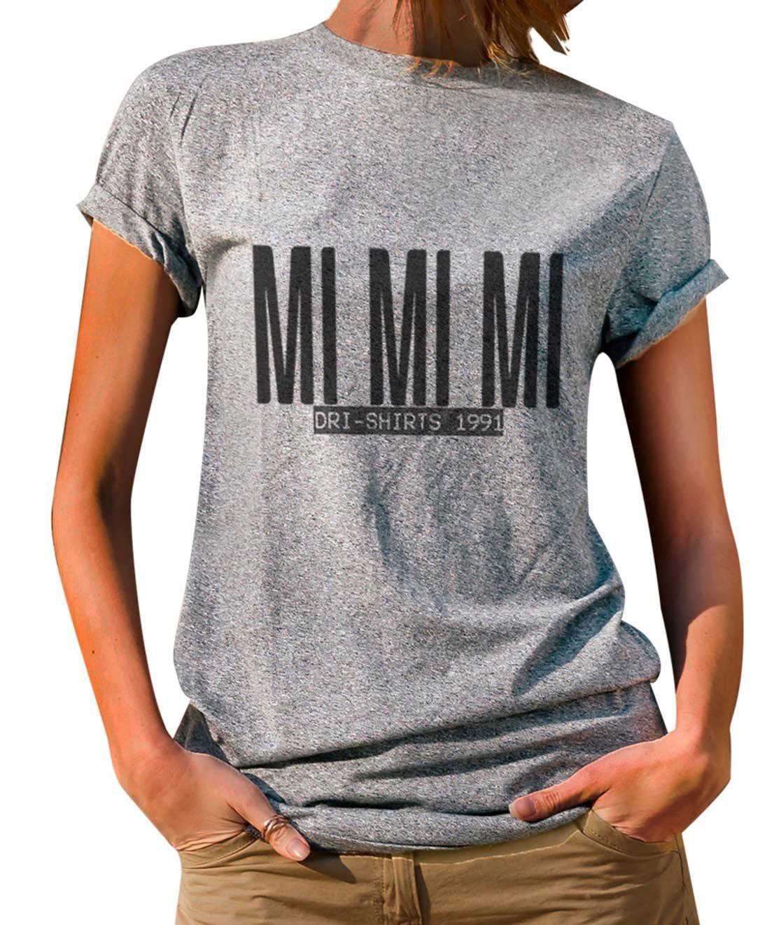 Blusa Outlet Dri T-Shirt Estampada Mi Mi Mi Cinza