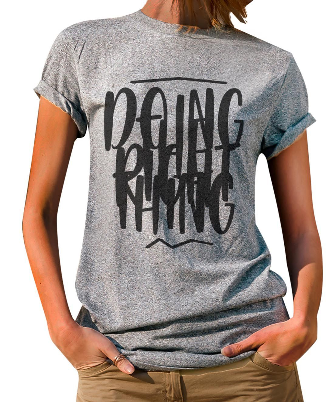 Blusa OutletDri T-Shirt Estampada Doing The Right Thing Cinza