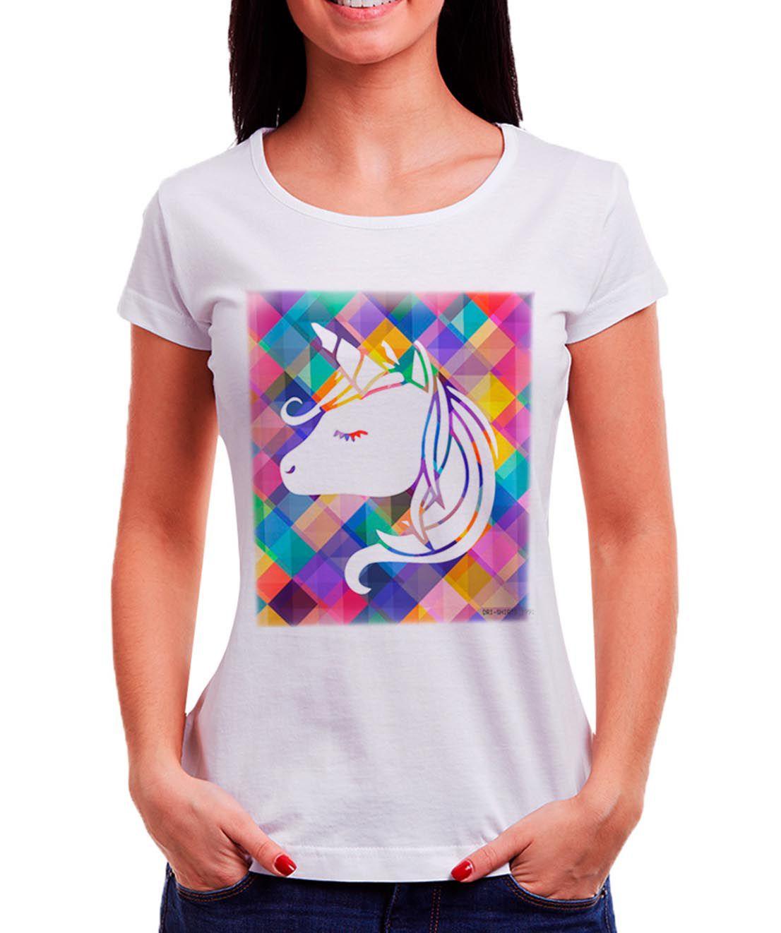 Blusa OutletDri T-Shirt Estampada Unicórnio Animado Branca