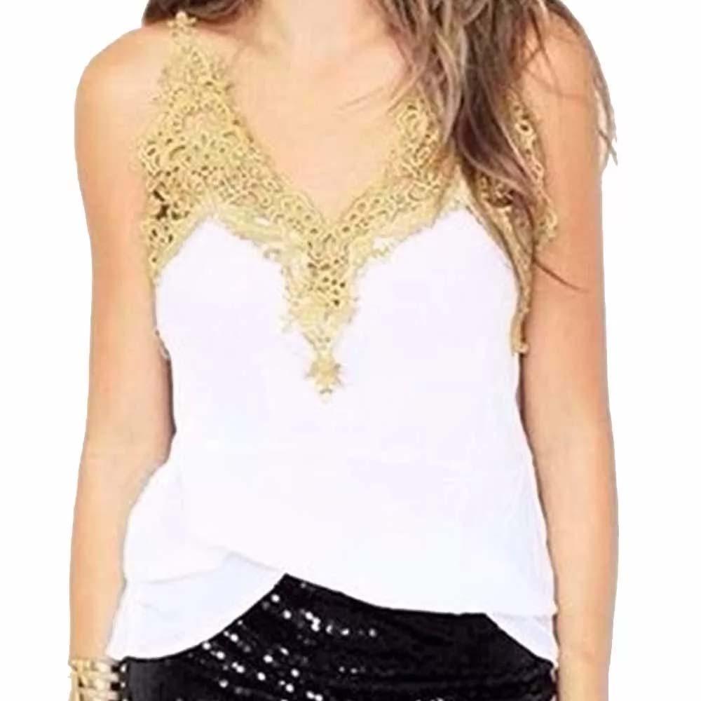 Blusa Regata Em Viscose Com Renda Guipir Dourada! Promoção