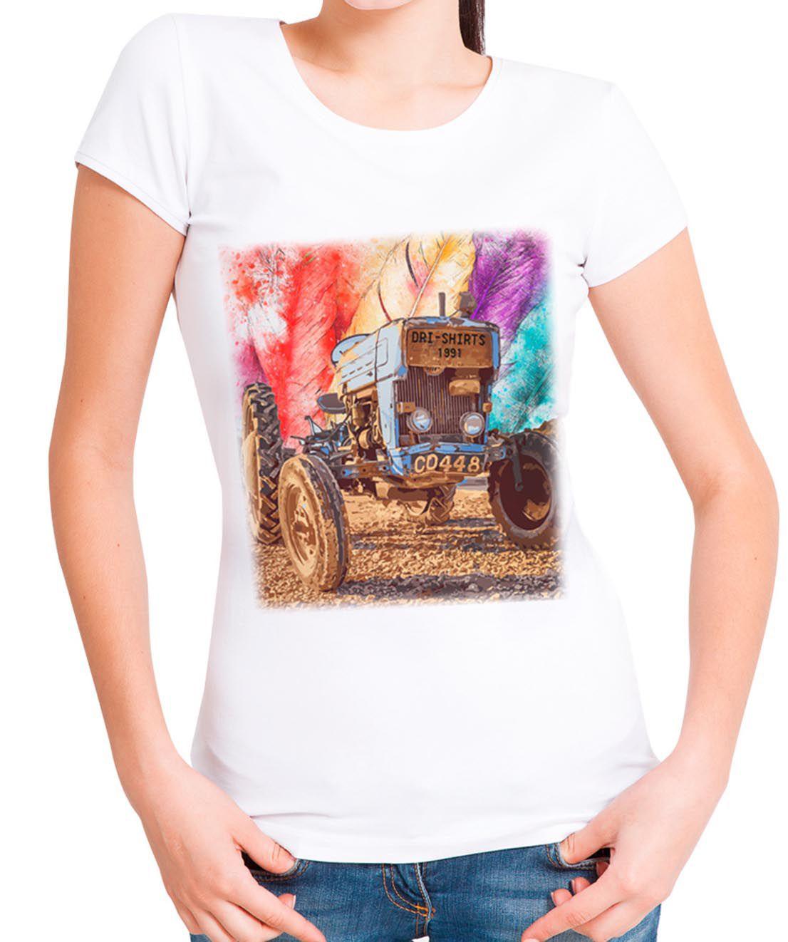 Blusa T-Shirt OutletDri Estampa Trator Arco-Iris Branca