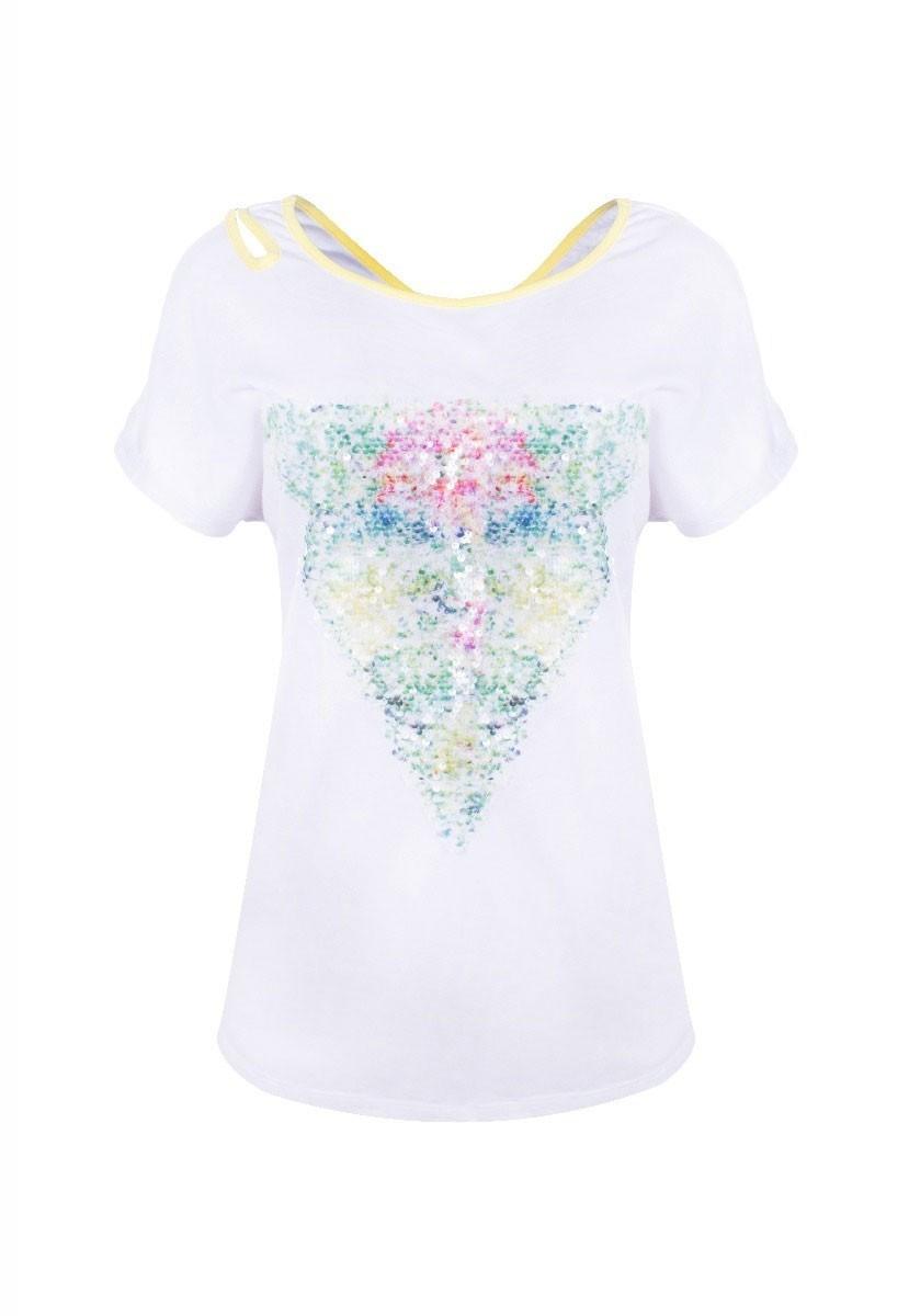 Blusa Tshirt Importada Aplicação Paetê Detalhe Transpassado Branco Com Detalhe Amarelo