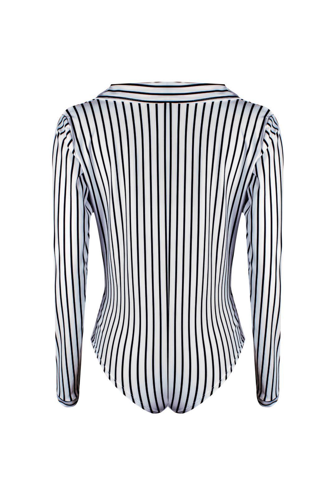 Body Outlet Dri Camisa Suplex Manga Longa Gola Transpassada Listrado Branco Com Preto