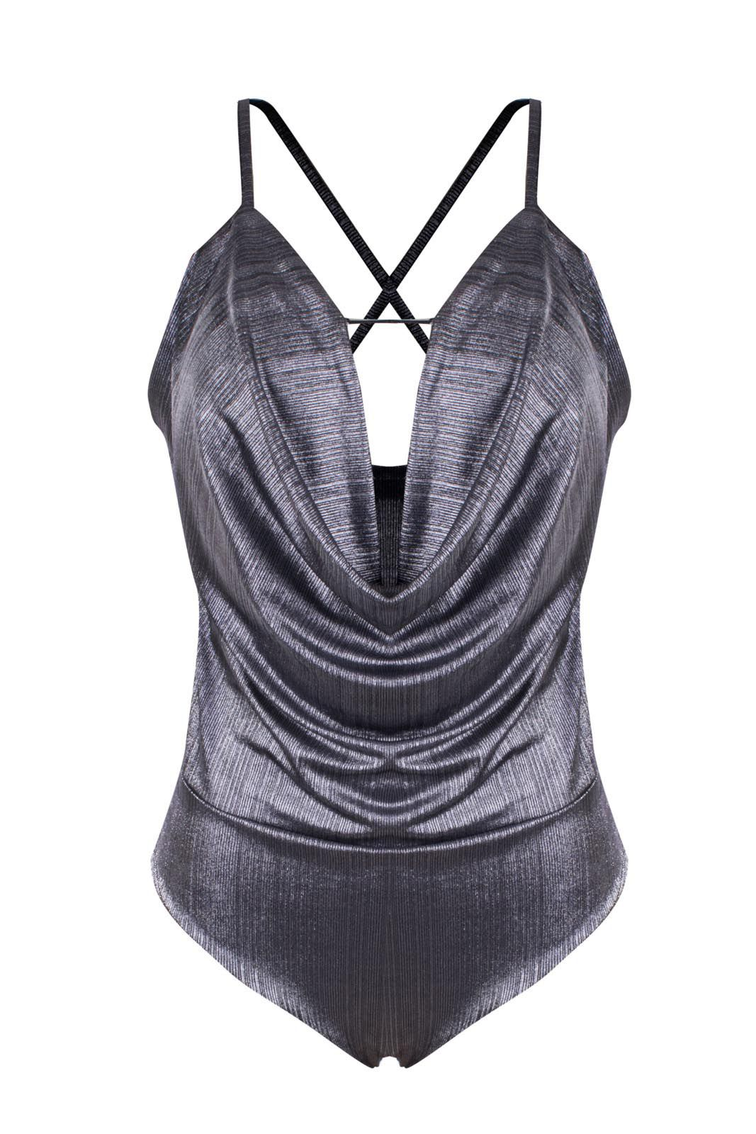 Body OutletDri Lurex Bojo Gargantilha Chocker Metalizado Cinza