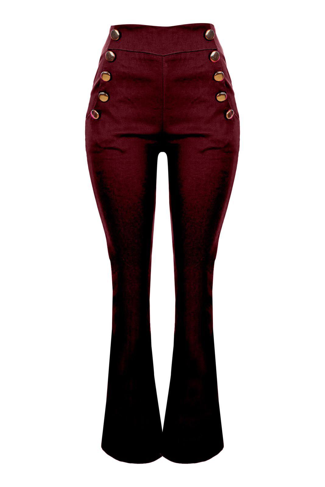 Calça OutletDri Cintura Alta Flare Botões Lateral Bengaline Vermelho escuro