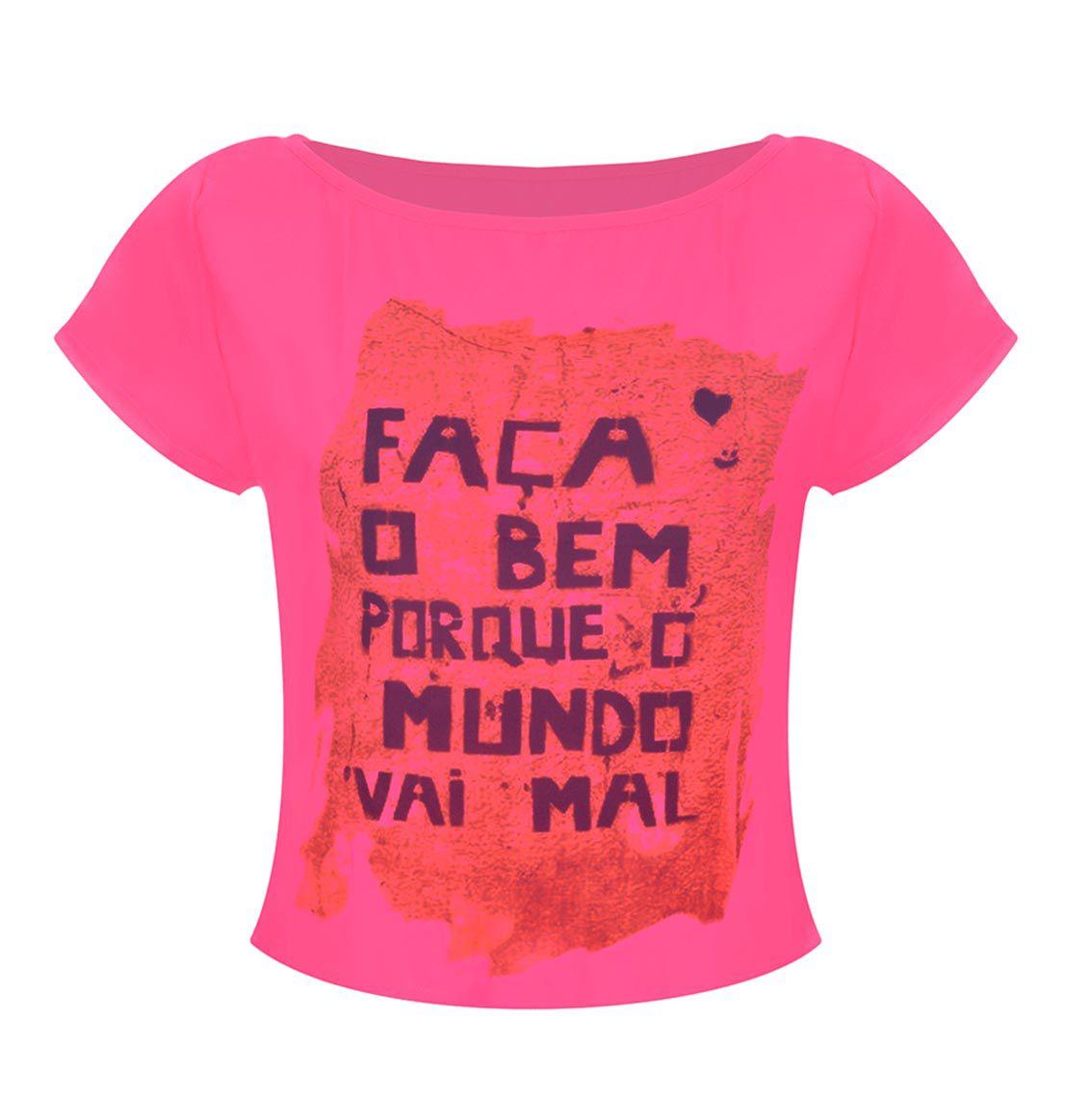 Camiseta T-Shirt Estampa Faça Rosa