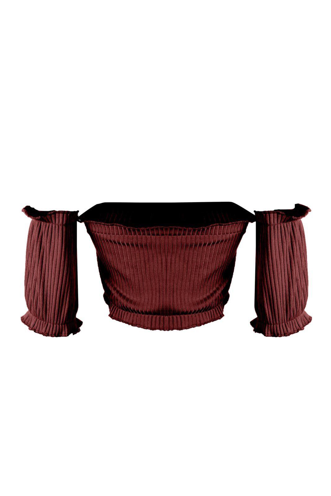 Cropped OutletDri Ribana Canelado Cigana Elástico Vermelho Escuro