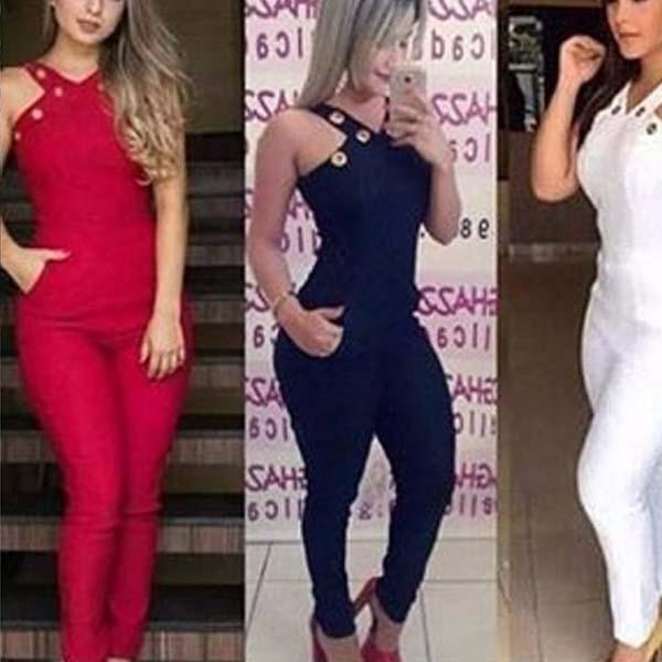 Macacão Feminino Social Longo Sem Renda Detalhe Gola Ilhós