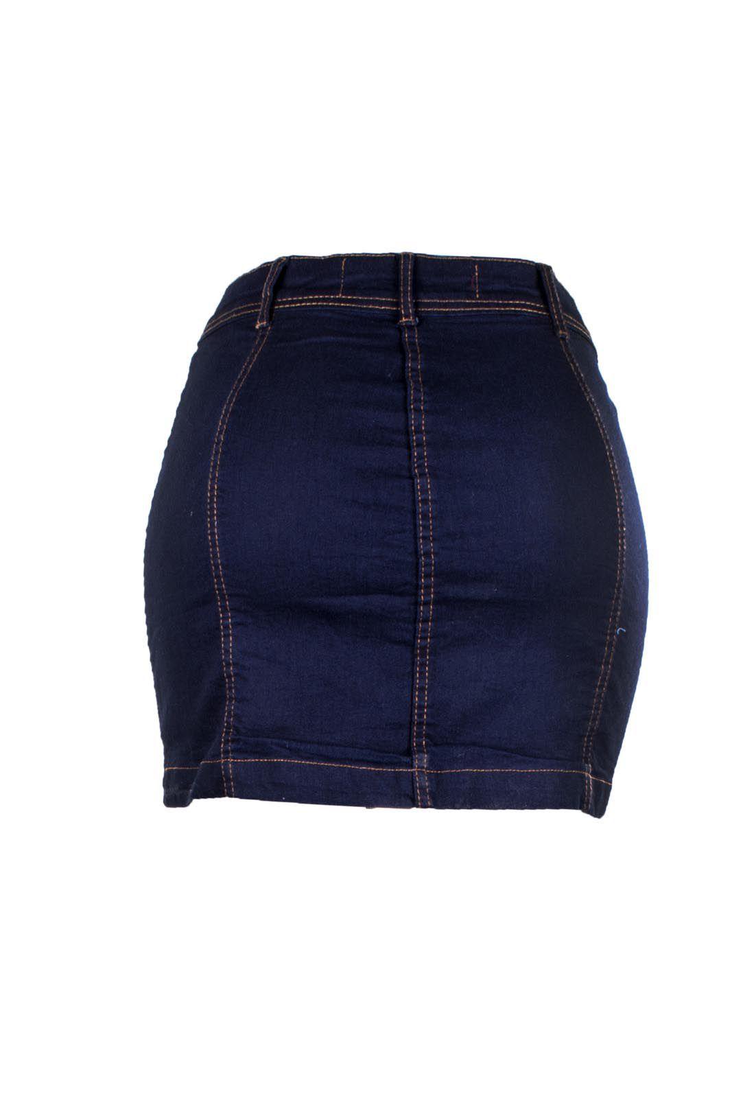 Saia Outlet Dri Jeans Curta Midi Botões Frontais Índigo