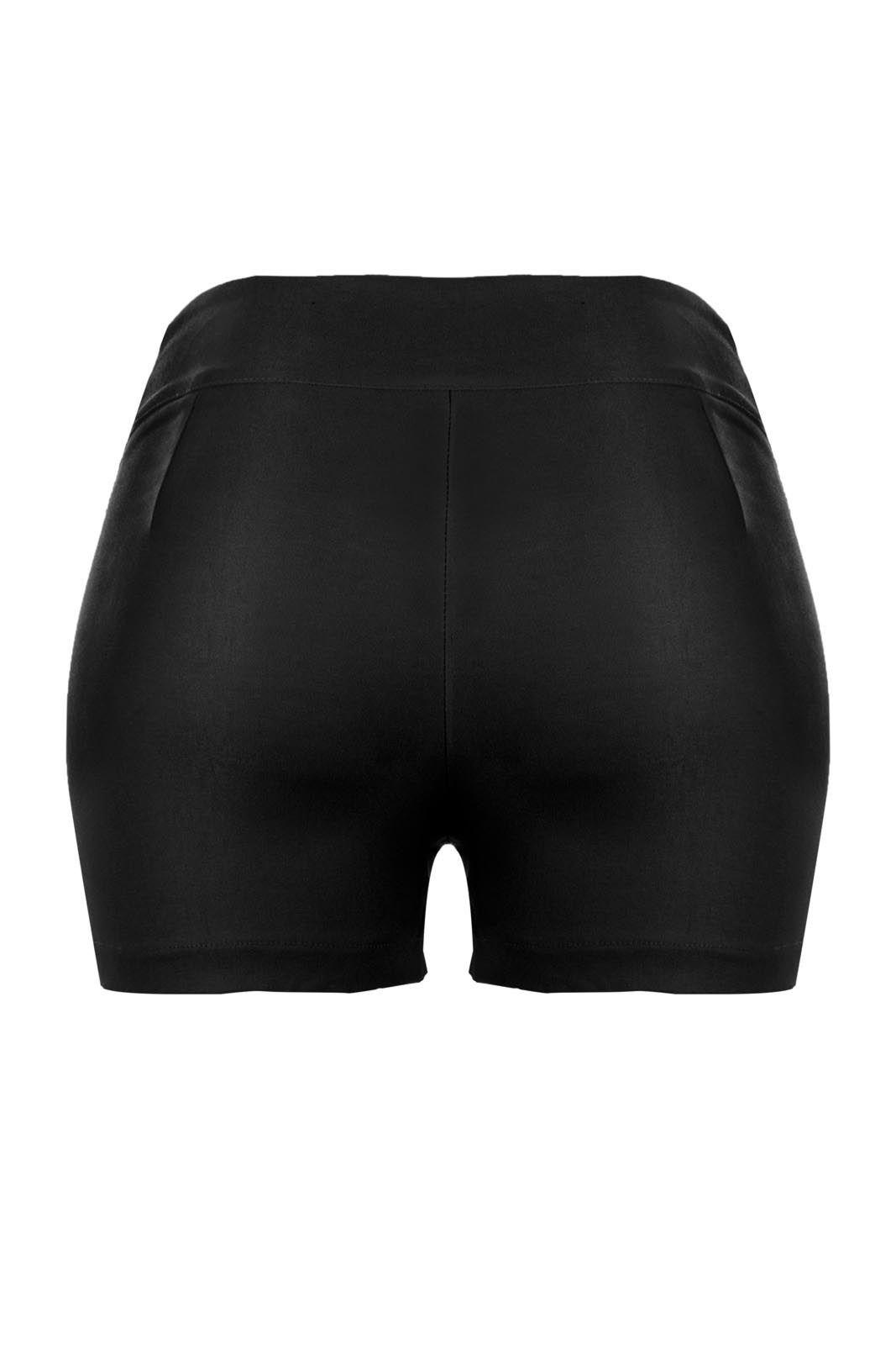 Shorts OutletDri Bengaline Zíper Lateral Detalhe 6 Botões Preto