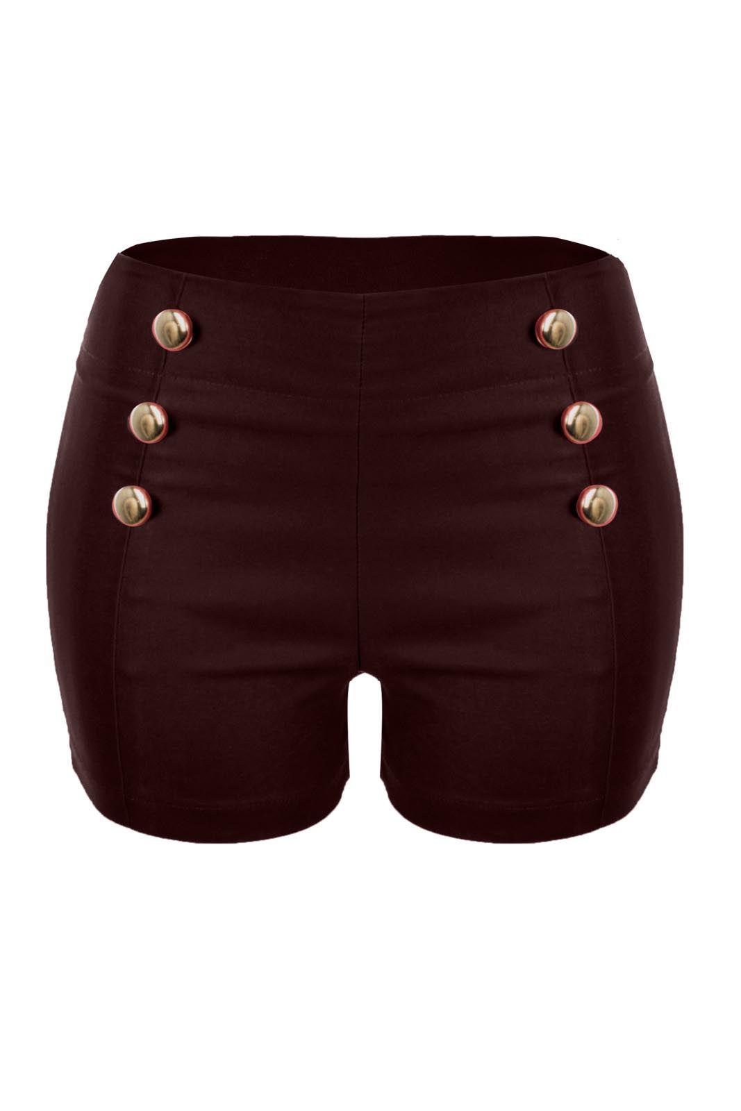 Shorts OutletDri Bengaline Zíper Lateral Detalhe 6 Botões Vermelho Escuro