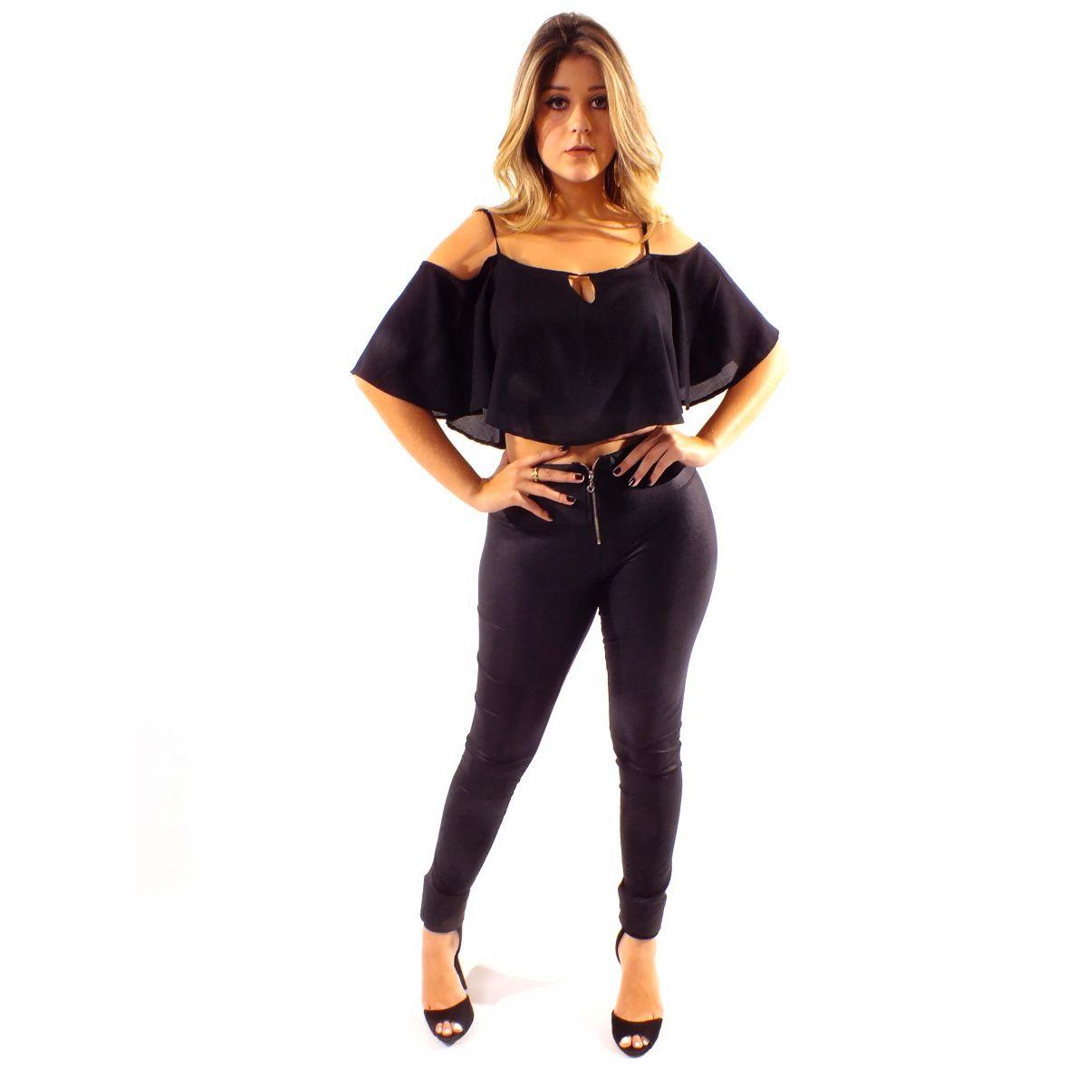 Top Cropped Ciganinha Sem Renda Blusa Feminina Babado Único