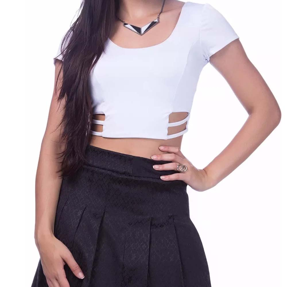 Top Cropped Tirinhas Tiras Laterais