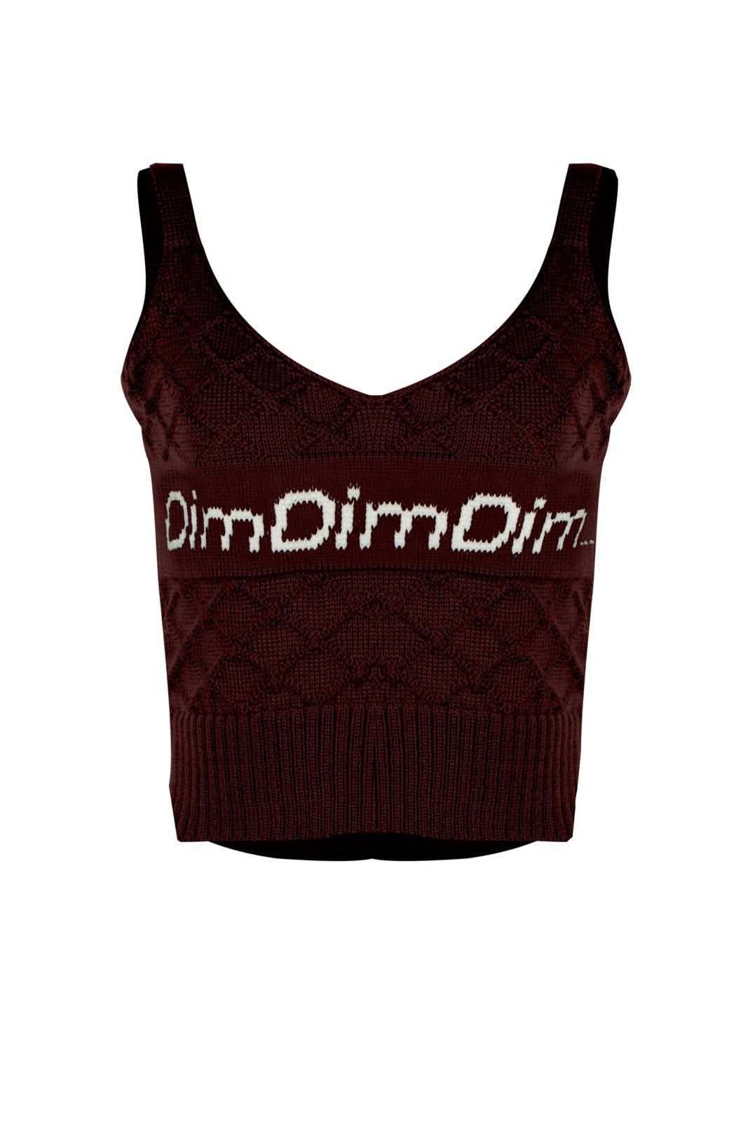 Top Outlet Dri Cropped Tricot Estampado Estampa DimDimDim  Vinho