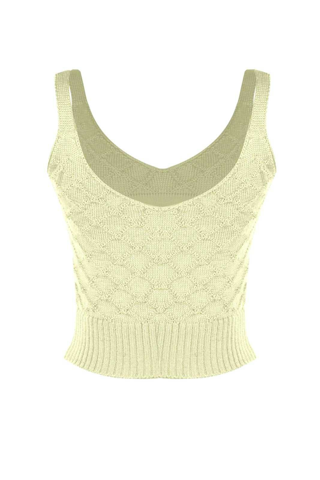Top Outlet Dri Cropped Tricot Estampado Estampa Plena Creme