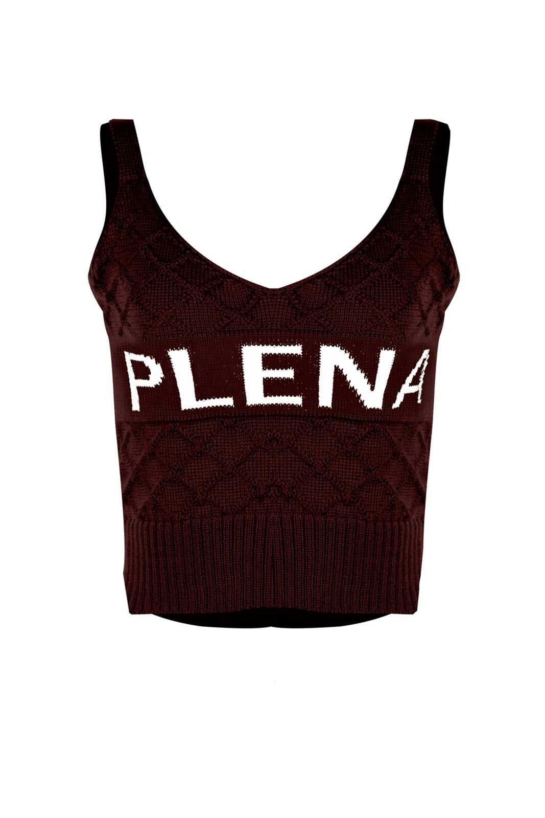 Top Outlet Dri Cropped Tricot Estampado Estampa Plena Vinho