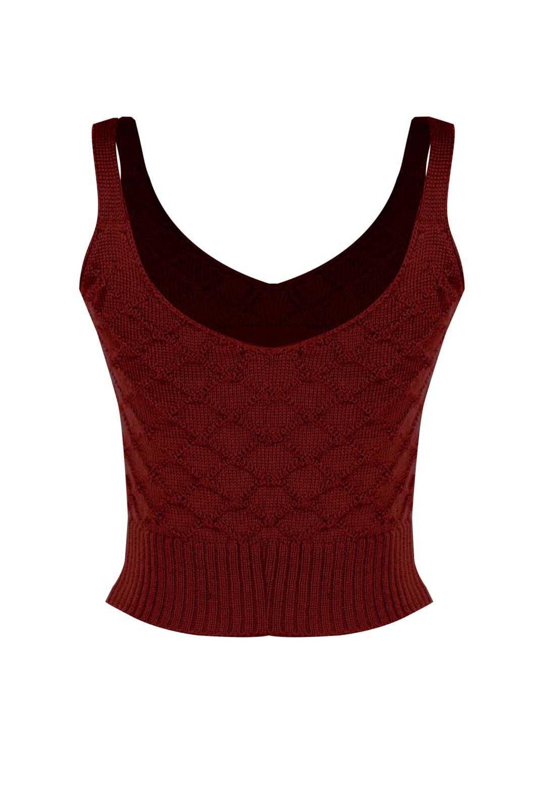 Top Outlet Dri Cropped Tricot Estampado Estampa Ranço Vermelho