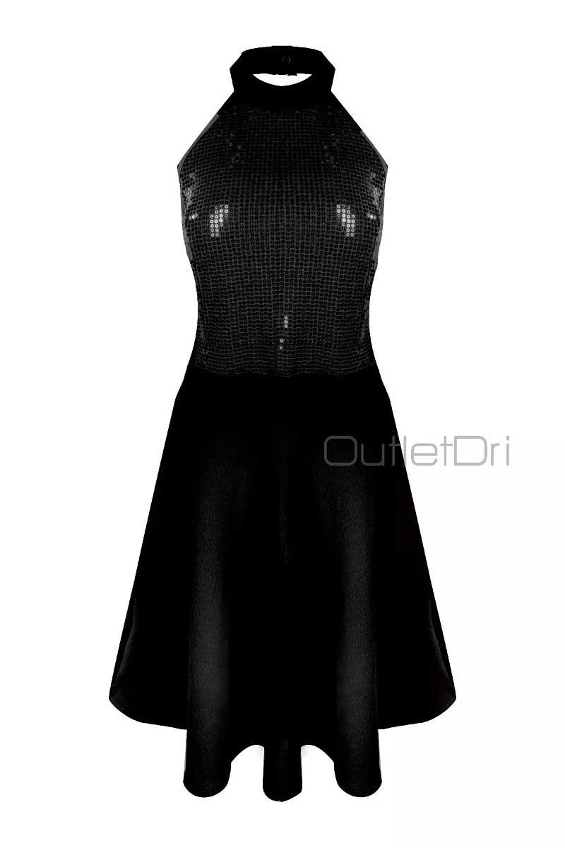 Vestido Casual Curto Paete Gola Alta Frente Única 2018