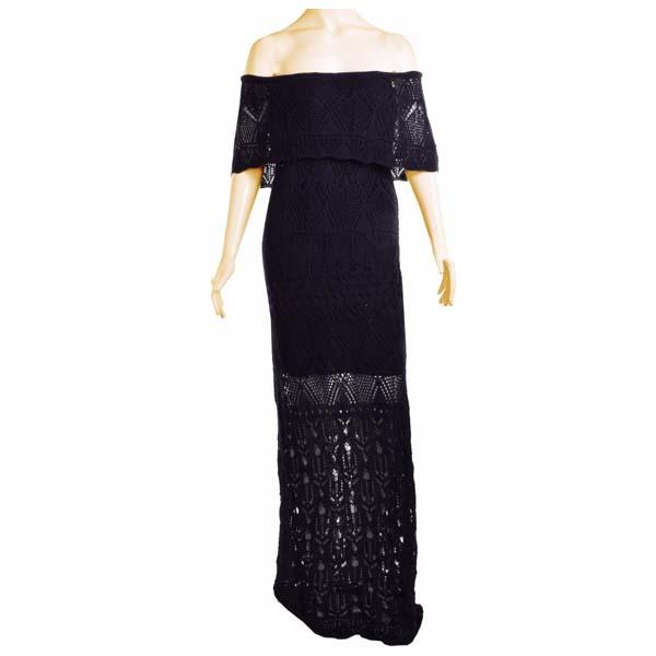 Vestido Casual Longo Tricot Trico Ciganinha Ombro A Ombro