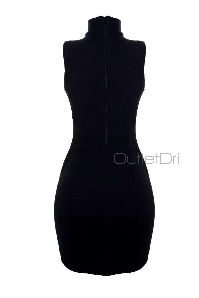 Vestido Gola Alta Chocker Decotado Tirinhas Transpassadas 3d