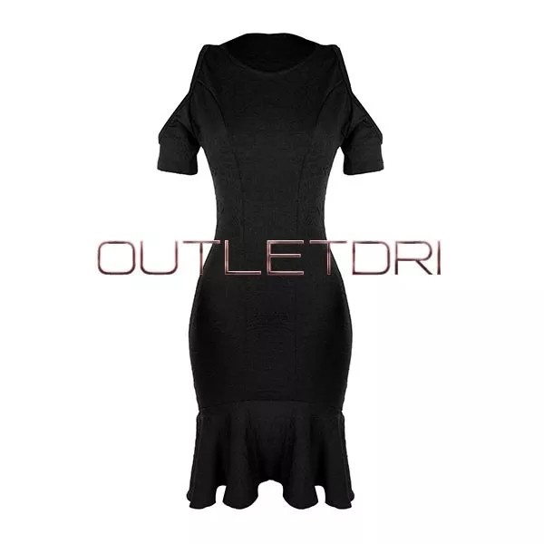 Vestido Midi Sereia Evangélico Detalhe Fenda Ombro Babado