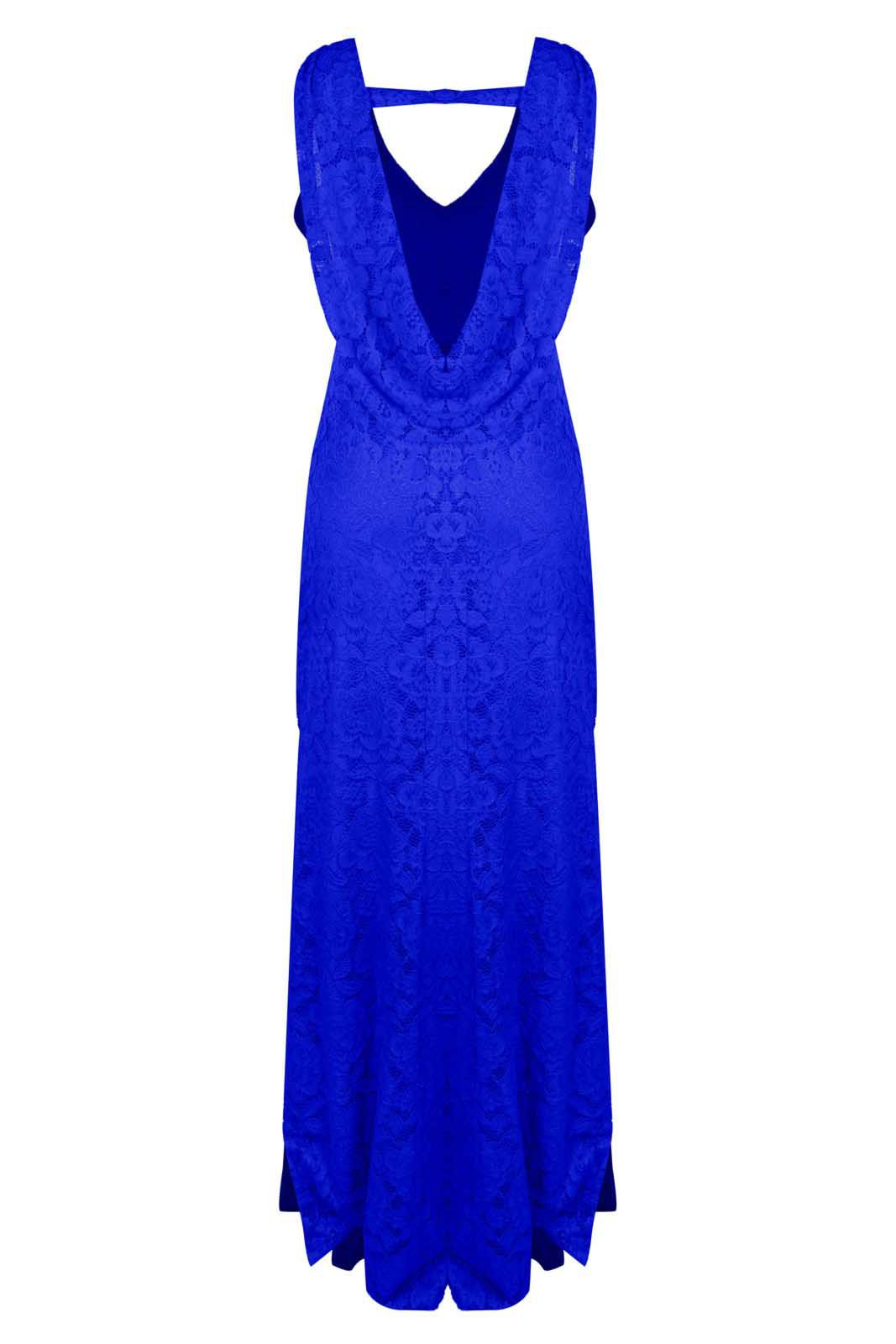Vestido Outlet Dri Formatura Casamento Sereia Costa Nua Babado Caído Azul