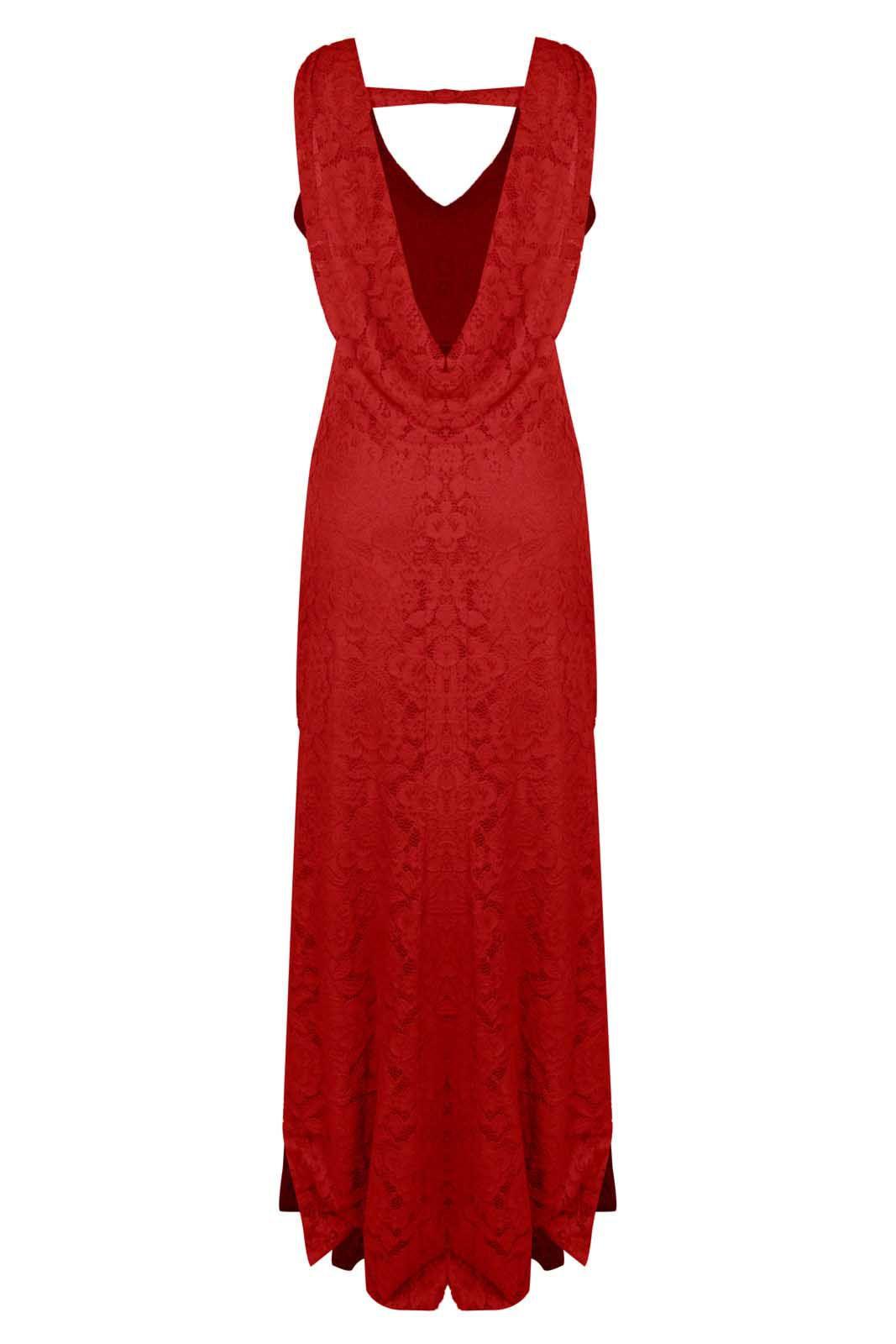 Vestido Outlet Dri Formatura Casamento Sereia Costa Nua Babado Caído Vermelho