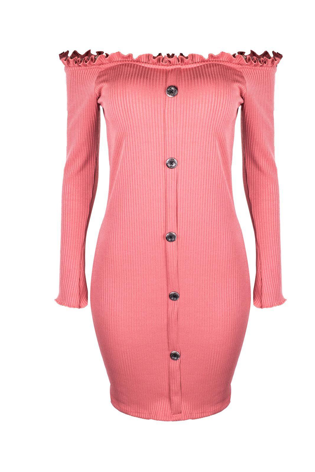 Vestido OutletDri Ciganinha Frufru Canelado Manga Longa Botões Frontal Rosa