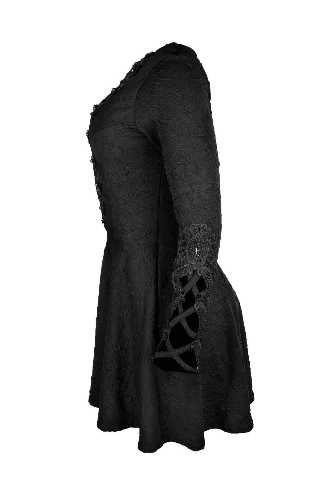 Vestido OutletDri Curto Manga Longa Godê Decote Tule Bordado Perolado Preto