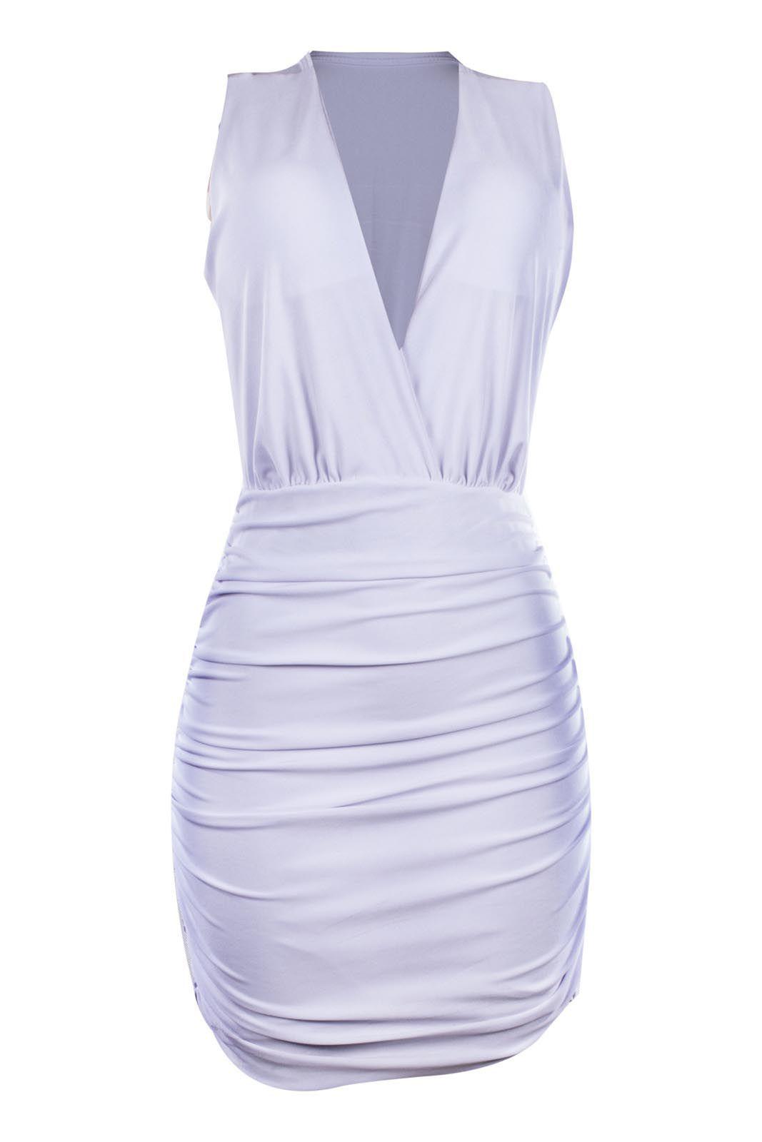 Vestido OutletDri Drappeado Curto Decote Transpassado Branco