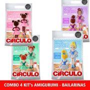 COMBO Com 4 Kit's Amigurumi Bailarinas Círculo