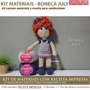 Kit Amigurumi Boneca July - Materiais com Receita Impressa