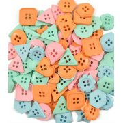 Kit Botões Sortidos Coloridos Geométricos pacote c/ 100g Círculo S/A