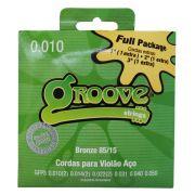 Jogo de Cordas p/ Violão Aço 010 Bronze 85/15 Fullpack - Groove