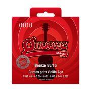 Jogo de Cordas p/ Violão Aço Bronze 010 85/15 - Groove