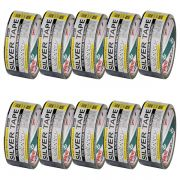 Kit 10 Unidades - Fita Silver Tape Preta ( Pista de Danca / Multiuso ) 48mm x 10mt - Adelbras