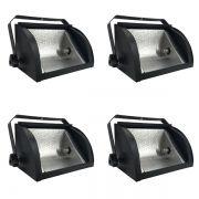 Kit 4 Refletores Mini Set Light + Lâmpada Palito Halógena 300w 110v 118mm