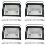 Kit 4 Refletores Mini Set Light + Lâmpada Palito Halógena 500w 220v 118mm