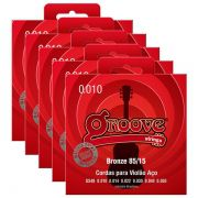 Kit 5 Unidades - Jogo de Cordas p/ Violão Aço Bronze 010 85/15 - Groove