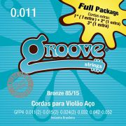 Kit 5 Unidades - Jogo de Cordas p/ Violão Aço Bronze 011 85/15 - Groove