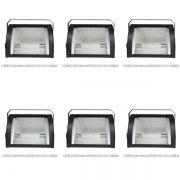 Kit 6 Refletor Set Light + Lâmpada Palito Halógena 1000w 110v 189mm