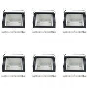 Kit 6 Refletores Mini Set Light + Lâmpada Palito Halógena 300w 110v 118mm