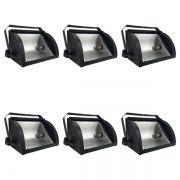 Kit 6 Refletores Mini Set Light + Lâmpada Palito Halógena 300w 220v 118mm
